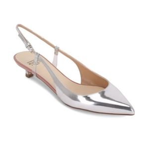 Francesco Russo Silver Mirrored Leather Slingback